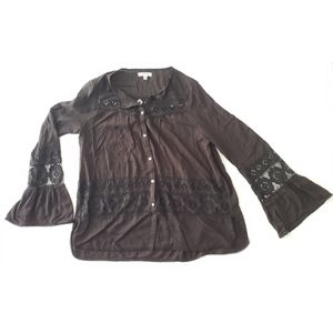 Max Studio Lace Cut-Out Peasant Top